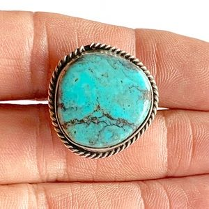 Navajo Sterling Silver Blue Turquoise Ring